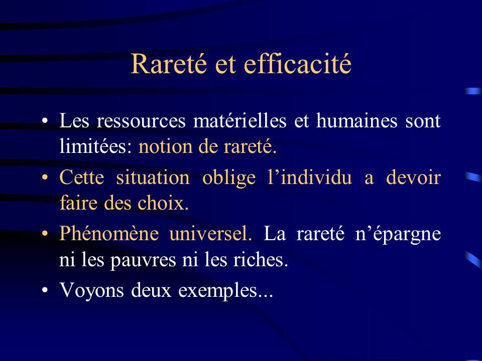 Rareté et efficacité Les ressources matérielles et humaines sont limitées: notion de rareté.