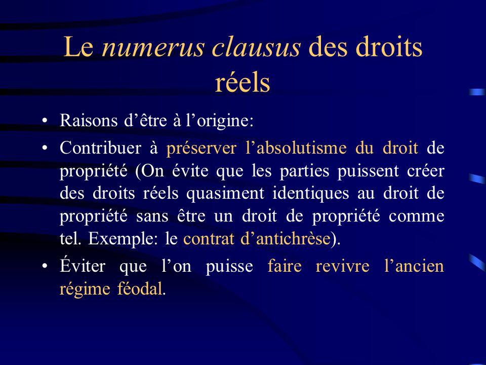 Le numerus clausus des droits réels