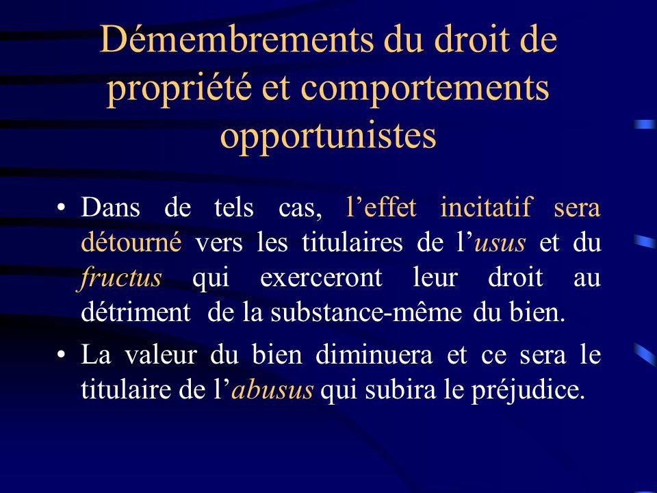 Démembrements du droit de propriété et comportements opportunistes