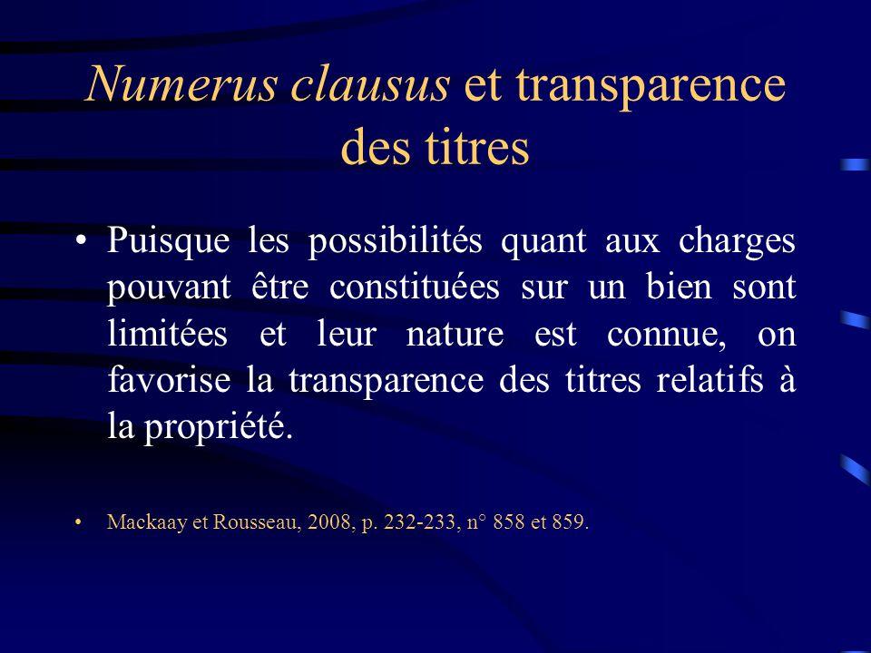 Numerus clausus et transparence des titres