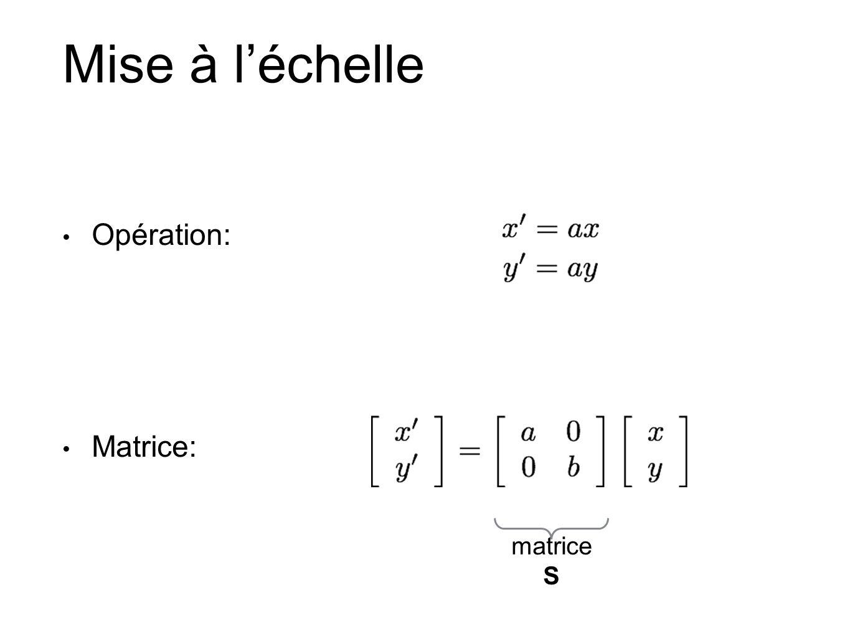 Mise à l'échelle Opération: Matrice: matrice S