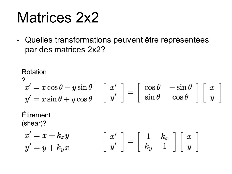 Matrices 2x2 Quelles transformations peuvent être représentées par des matrices 2x2.