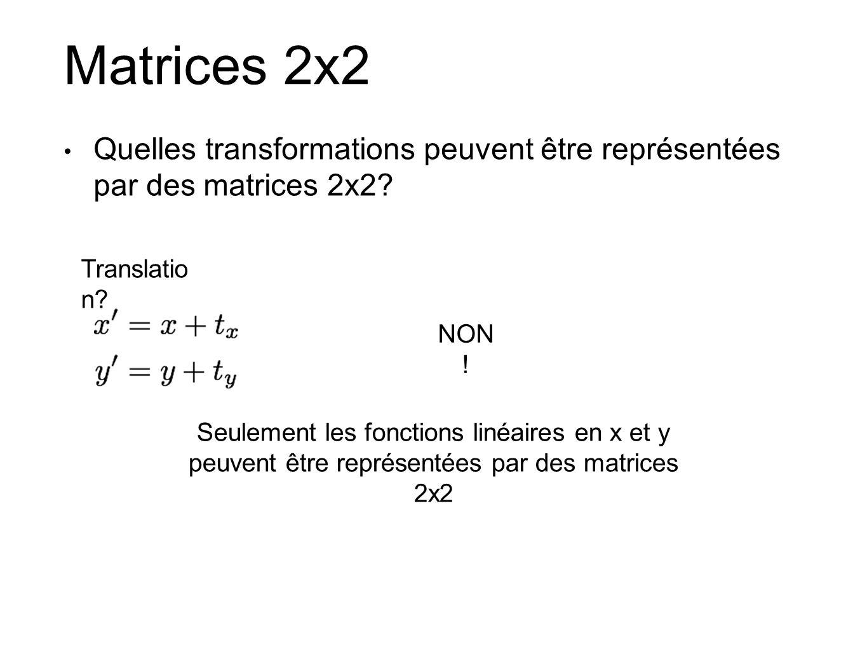 Matrices 2x2 Quelles transformations peuvent être représentées par des matrices 2x2 Translation