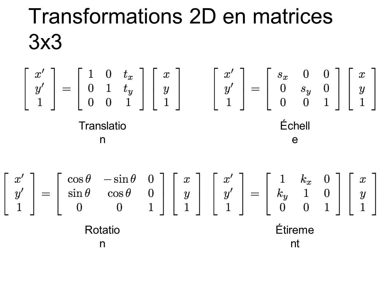 Transformations 2D en matrices 3x3