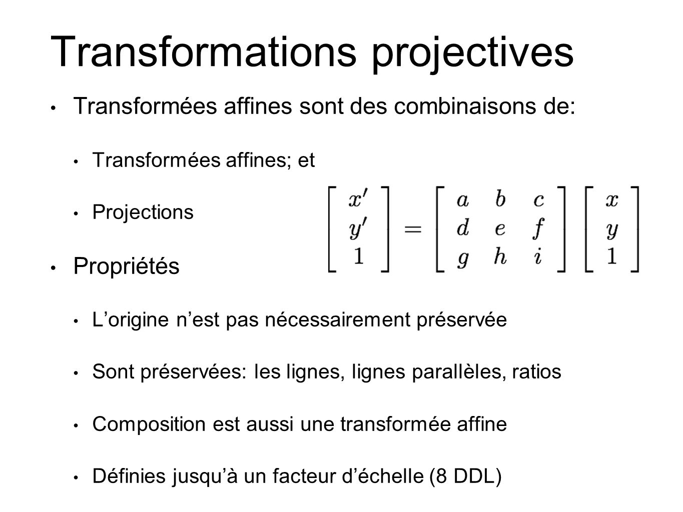 Transformations projectives