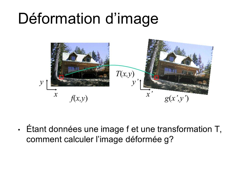 Déformation d'image T(x,y) y. y' x. x' f(x,y) g(x',y')