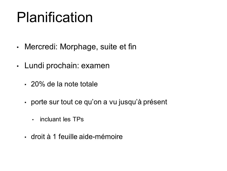 Planification Mercredi: Morphage, suite et fin Lundi prochain: examen