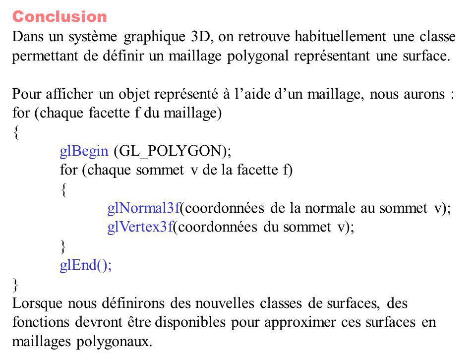 Conclusion Dans un système graphique 3D, on retrouve habituellement une classe.