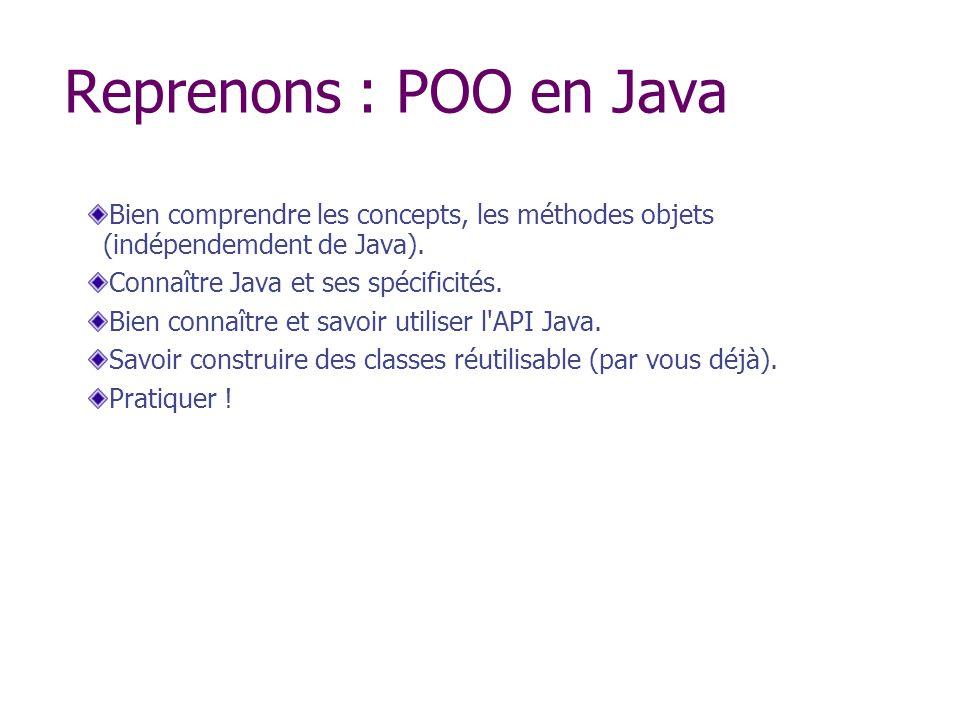 Reprenons : POO en Java Bien comprendre les concepts, les méthodes objets (indépendemdent de Java).
