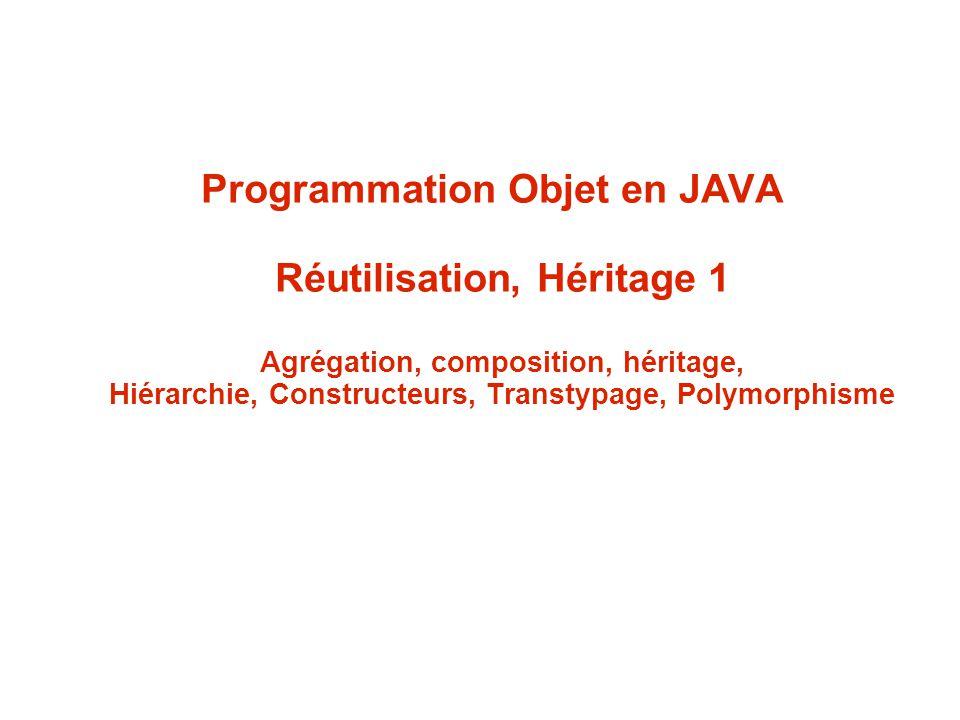 Programmation Objet en JAVA Réutilisation, Héritage 1 Agrégation, composition, héritage, Hiérarchie, Constructeurs, Transtypage, Polymorphisme