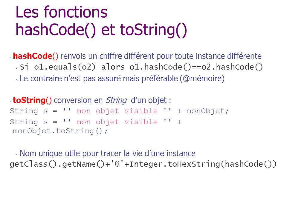 Les fonctions hashCode() et toString()