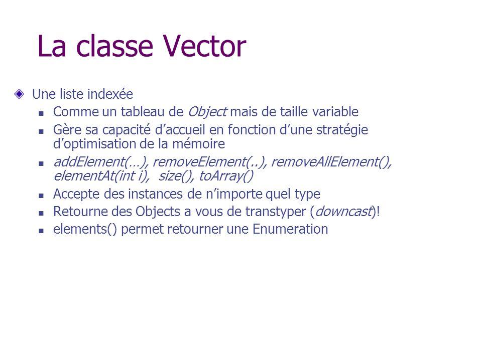 La classe Vector Une liste indexée
