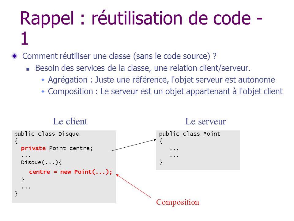Rappel : réutilisation de code - 1