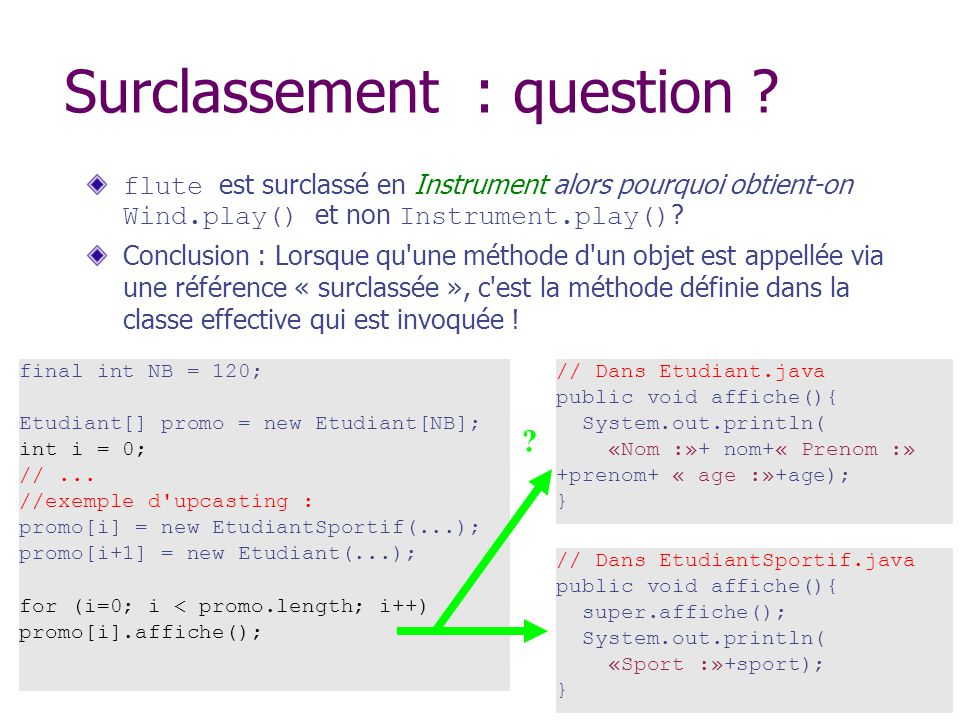 Surclassement : question