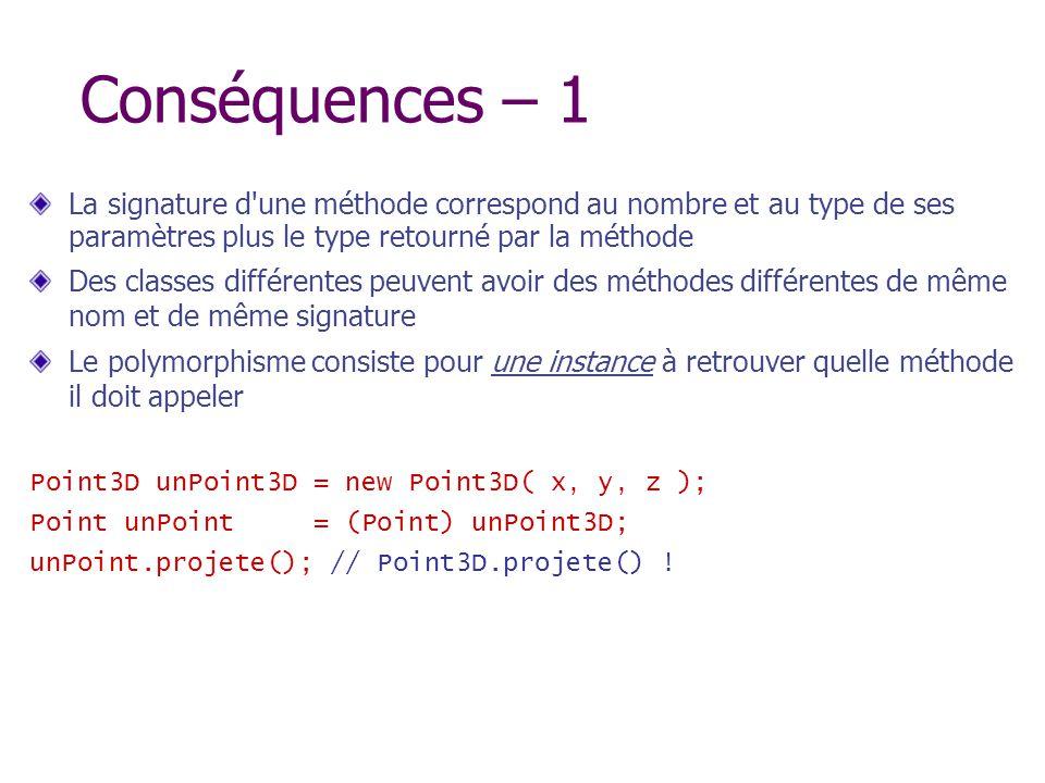 Conséquences – 1 La signature d une méthode correspond au nombre et au type de ses paramètres plus le type retourné par la méthode.
