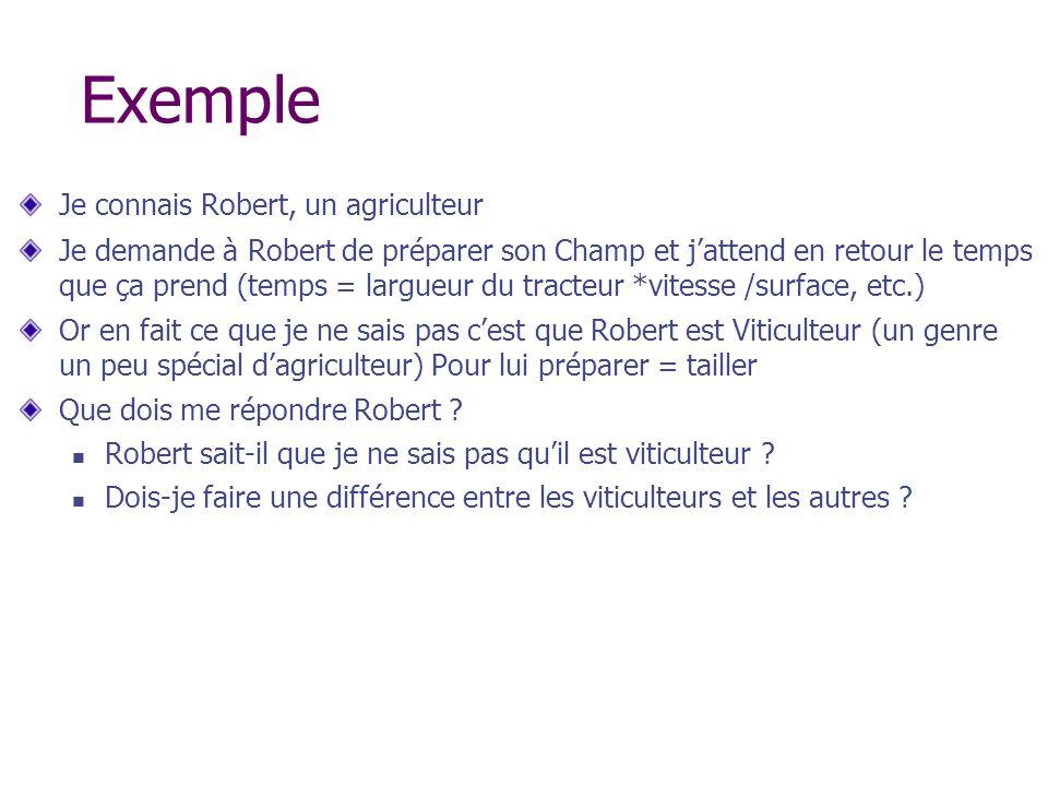 Exemple Je connais Robert, un agriculteur