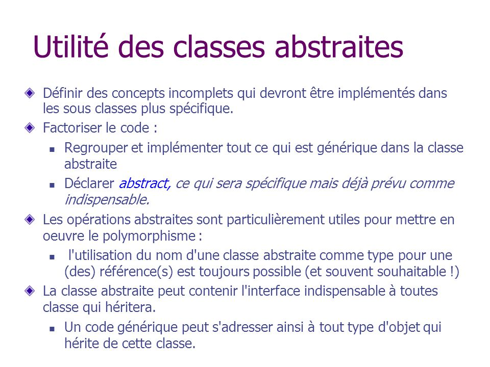 Utilité des classes abstraites