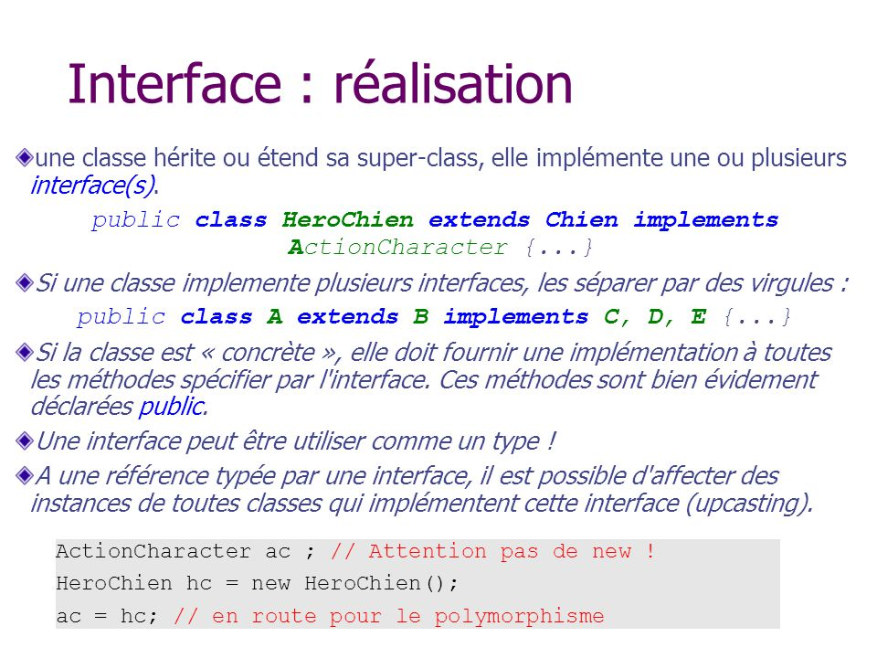 Interface : réalisation