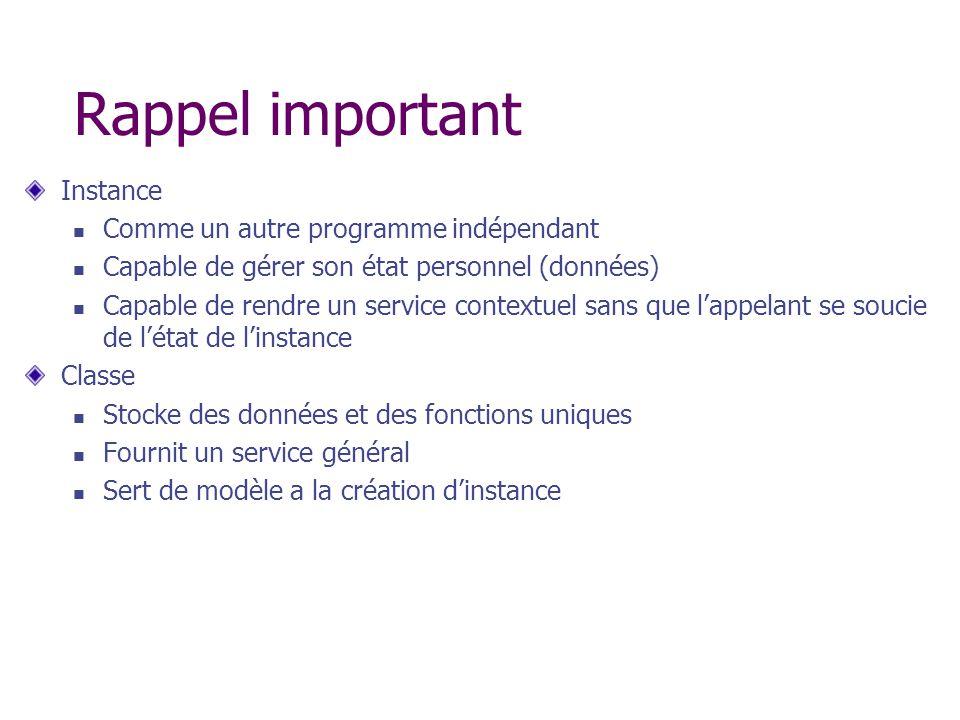 Rappel important Instance Comme un autre programme indépendant