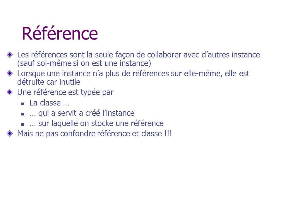 Référence Les références sont la seule façon de collaborer avec d'autres instance (sauf soi-même si on est une instance)