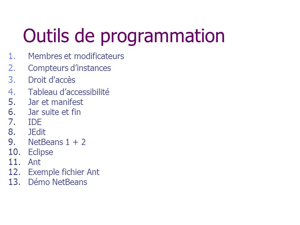 Outils de programmation