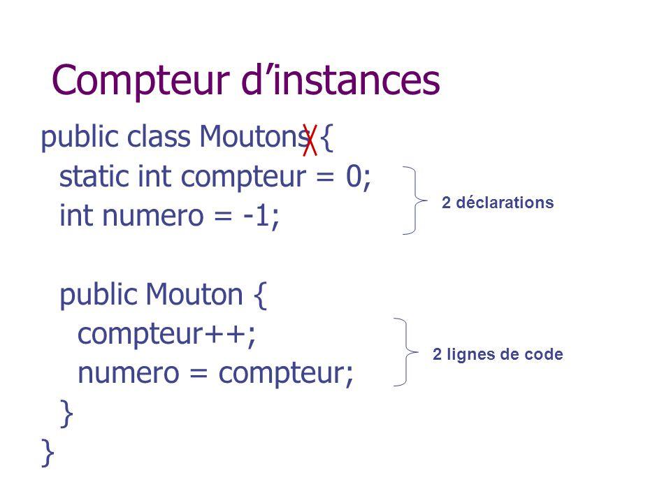 Compteur d'instances public class Moutons { static int compteur = 0;
