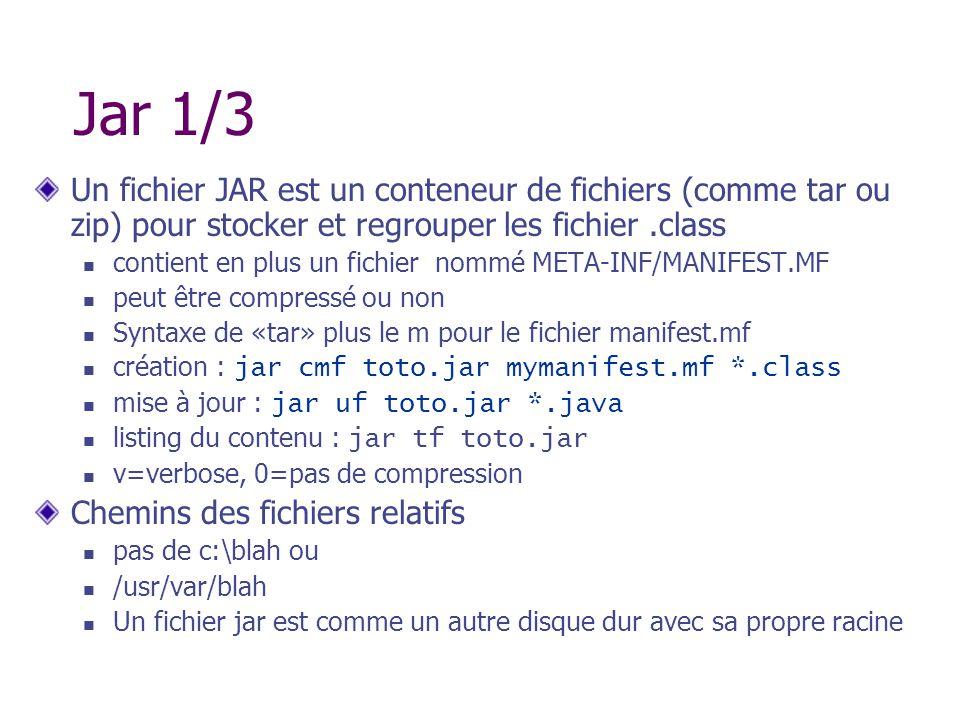 Jar 1/3 Un fichier JAR est un conteneur de fichiers (comme tar ou zip) pour stocker et regrouper les fichier .class.