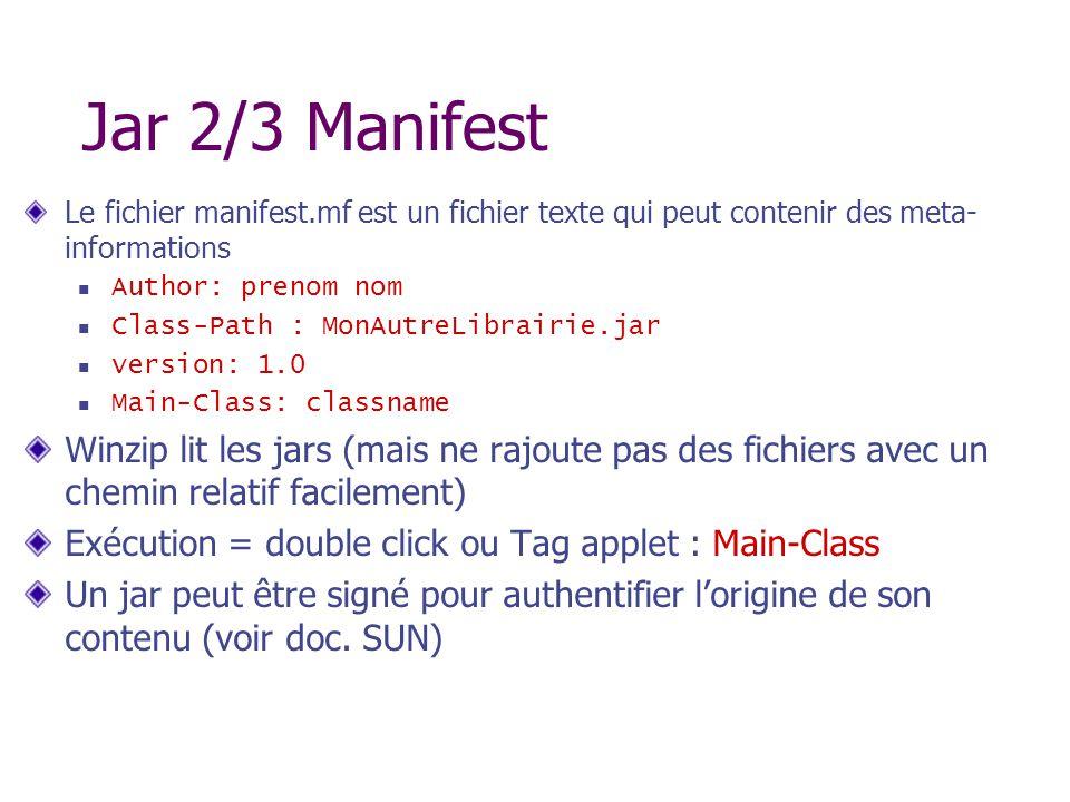 Jar 2/3 Manifest Le fichier manifest.mf est un fichier texte qui peut contenir des meta-informations.