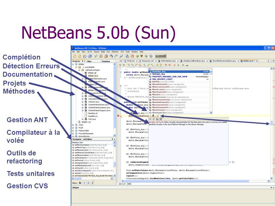 NetBeans 5.0b (Sun) Complétion Détection Erreurs Documentation Projets