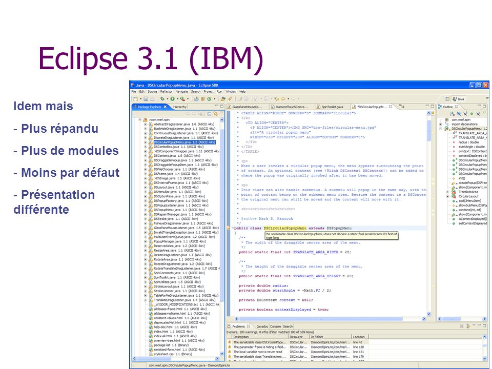 Eclipse 3.1 (IBM) Idem mais Plus répandu Plus de modules