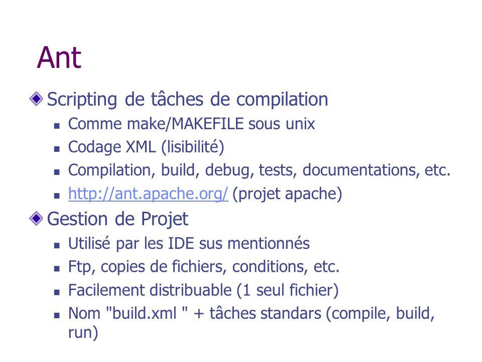 Ant Scripting de tâches de compilation Gestion de Projet