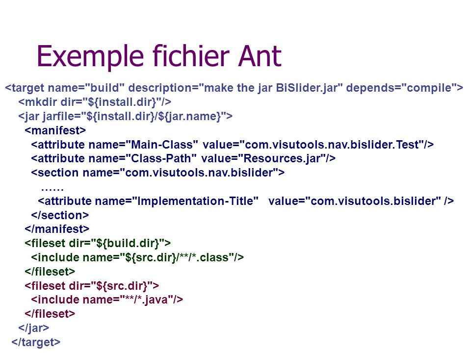 Exemple fichier Ant <target name= build description= make the jar BiSlider.jar depends= compile >