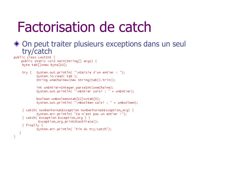 Factorisation de catch