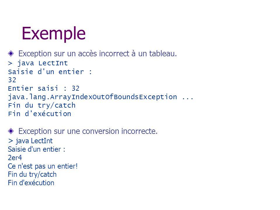Exemple Exception sur un accès incorrect à un tableau.