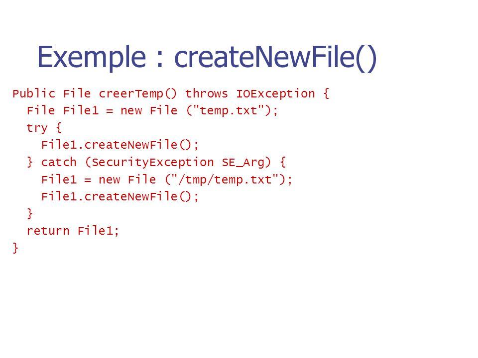 Exemple : createNewFile()