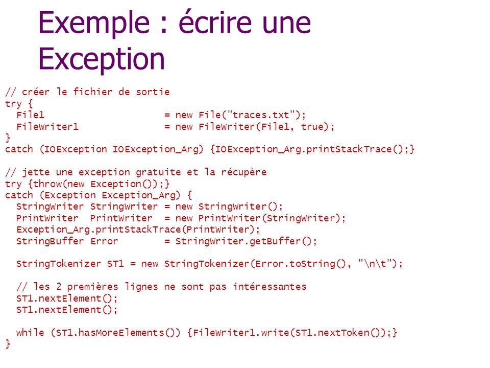 Exemple : écrire une Exception