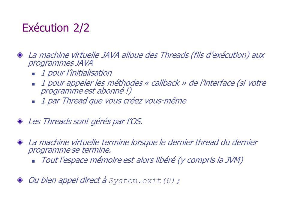 Exécution 2/2 La machine virtuelle JAVA alloue des Threads (fils d'exécution) aux programmes JAVA.