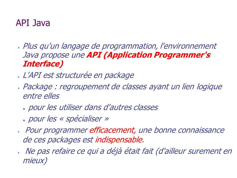 API Java Plus qu un langage de programmation, l environnement Java propose une API (Application Programmer s Interface)