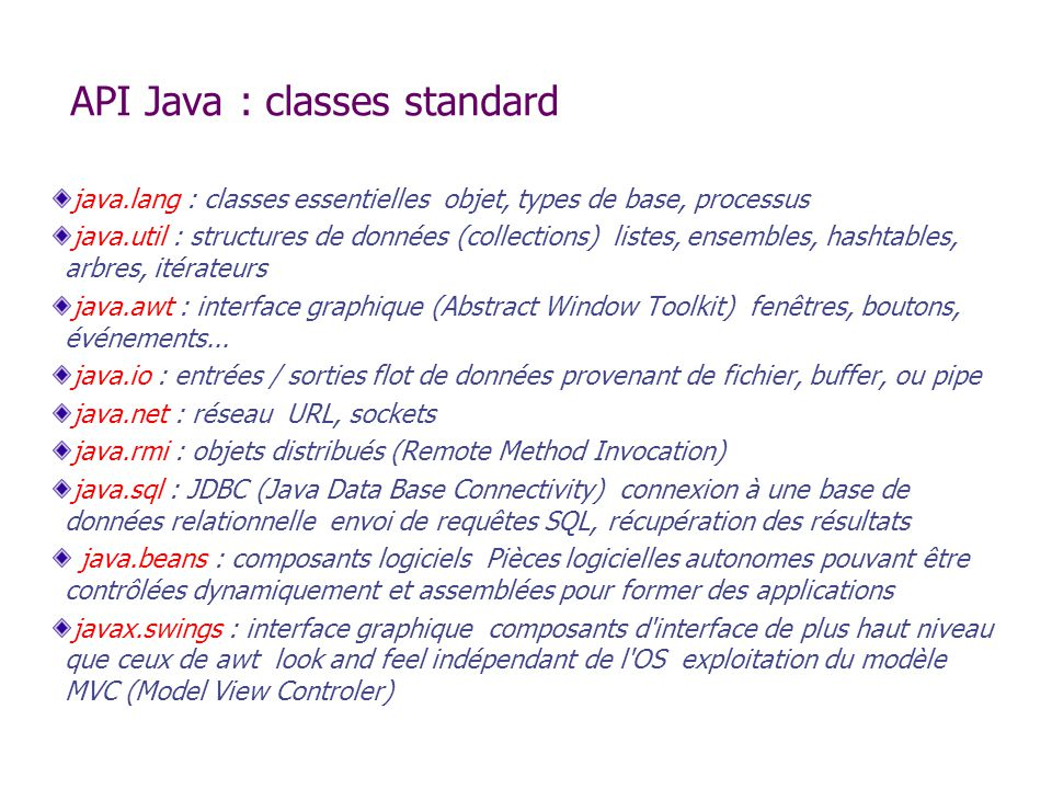 API Java : classes standard