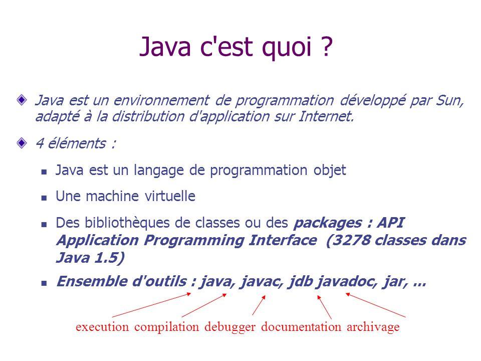 Java c est quoi Java est un environnement de programmation développé par Sun, adapté à la distribution d application sur Internet.