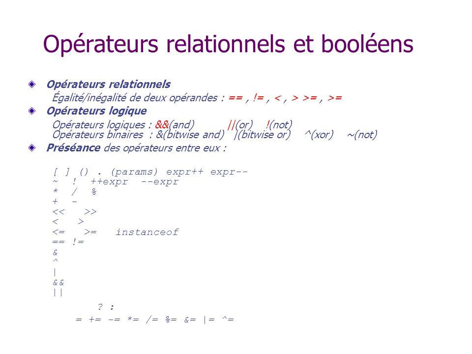 Opérateurs relationnels et booléens
