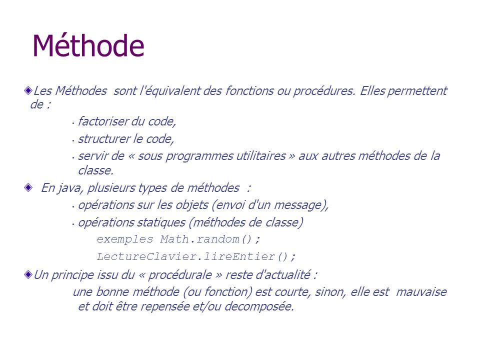 Méthode Les Méthodes sont l équivalent des fonctions ou procédures. Elles permettent de : factoriser du code,
