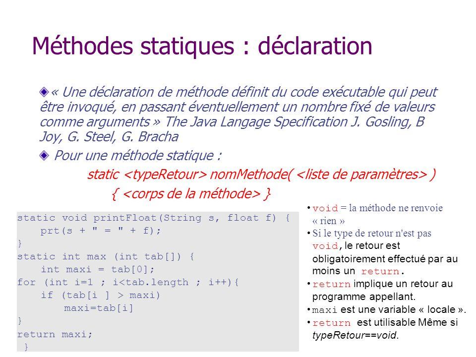 Méthodes statiques : déclaration