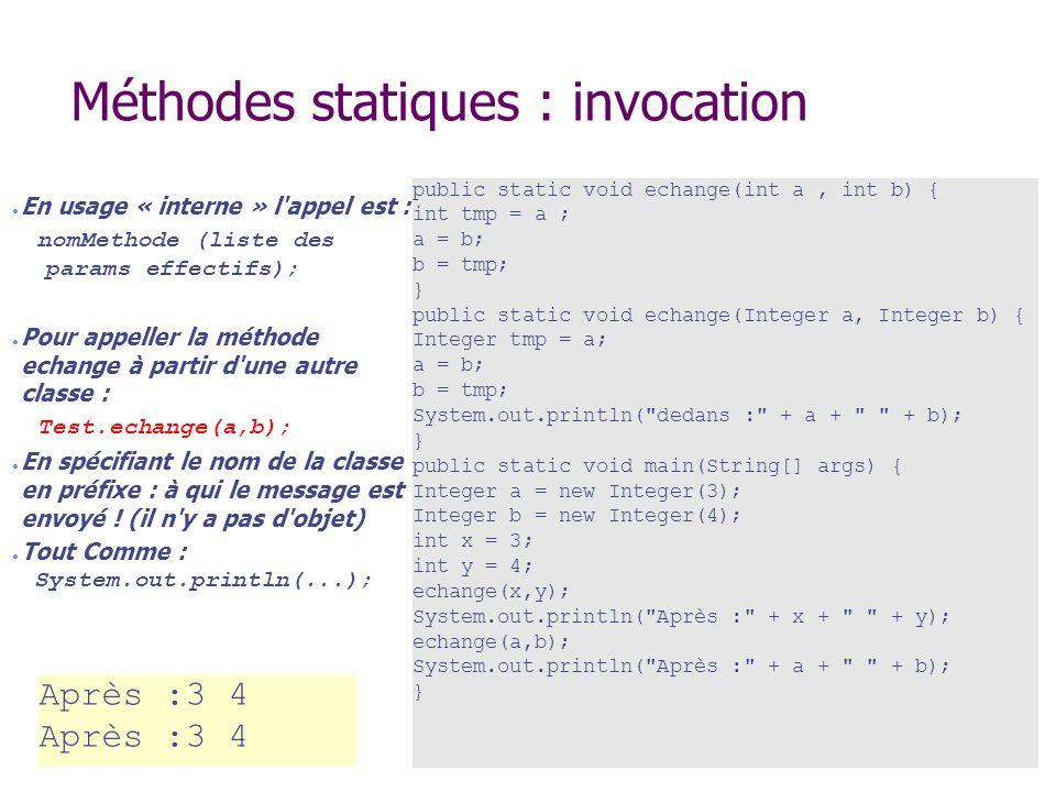 Méthodes statiques : invocation