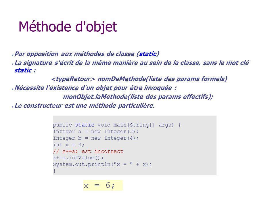 Méthode d objet x = 6; Par opposition aux méthodes de classe (static)