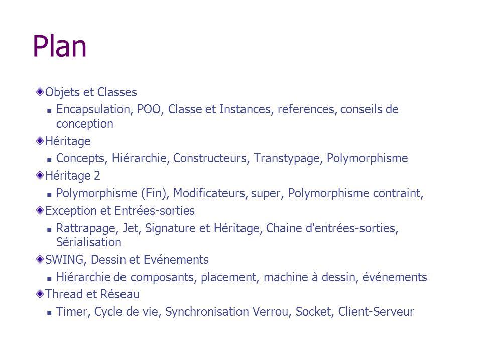 Plan Objets et Classes. Encapsulation, POO, Classe et Instances, references, conseils de conception.