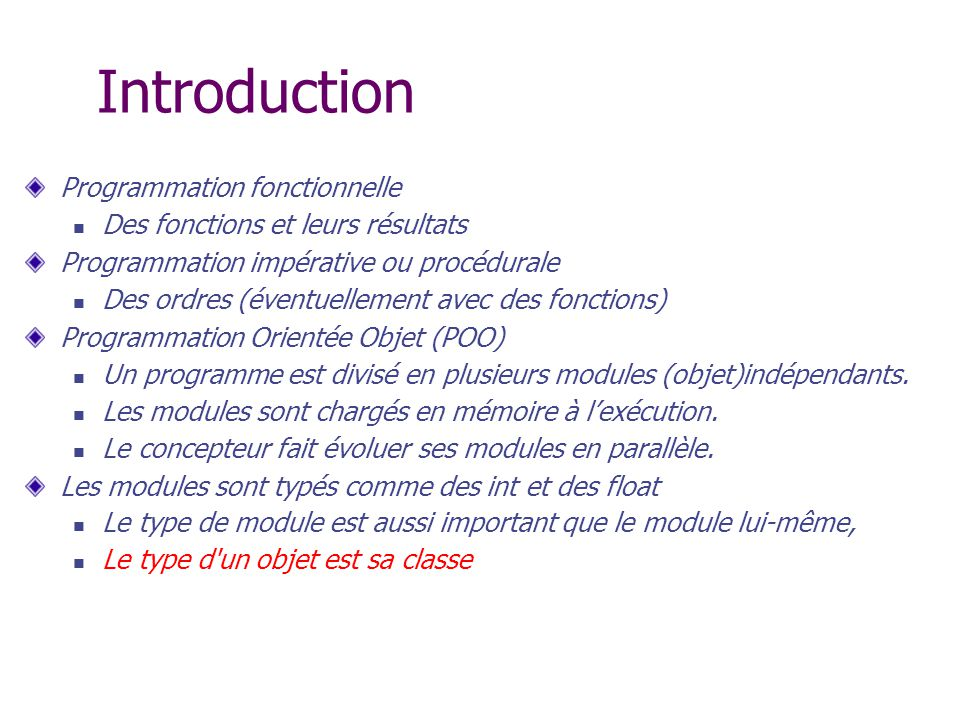 Introduction Programmation fonctionnelle
