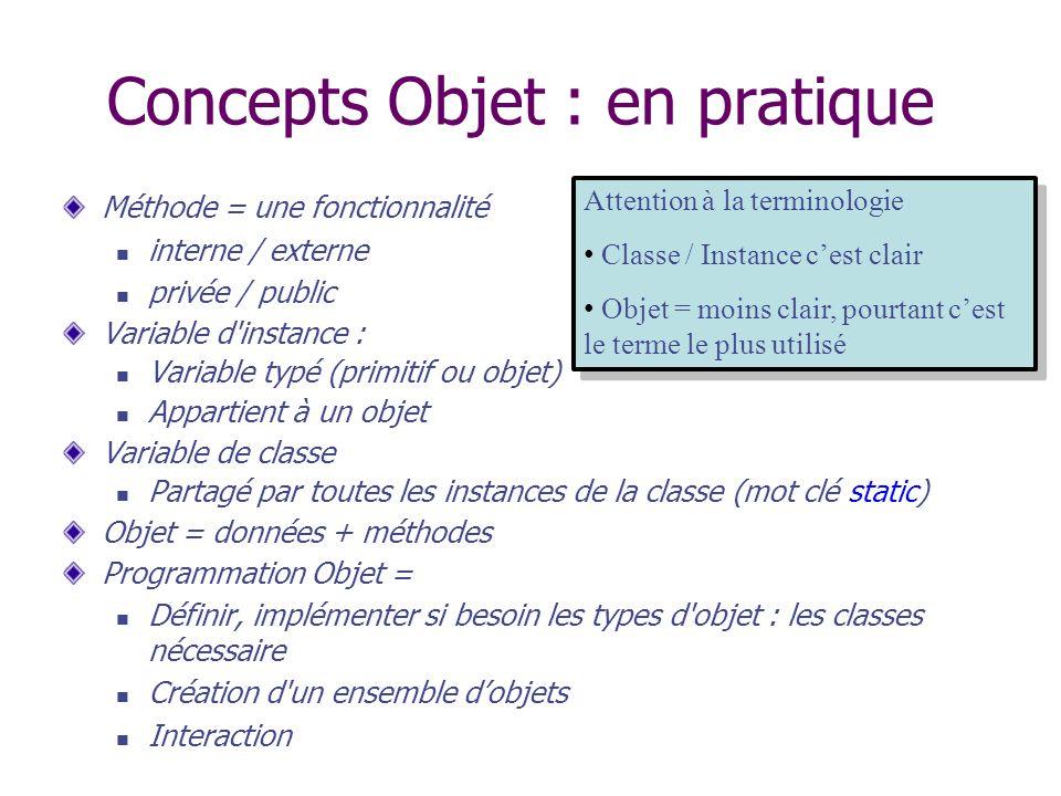 Concepts Objet : en pratique