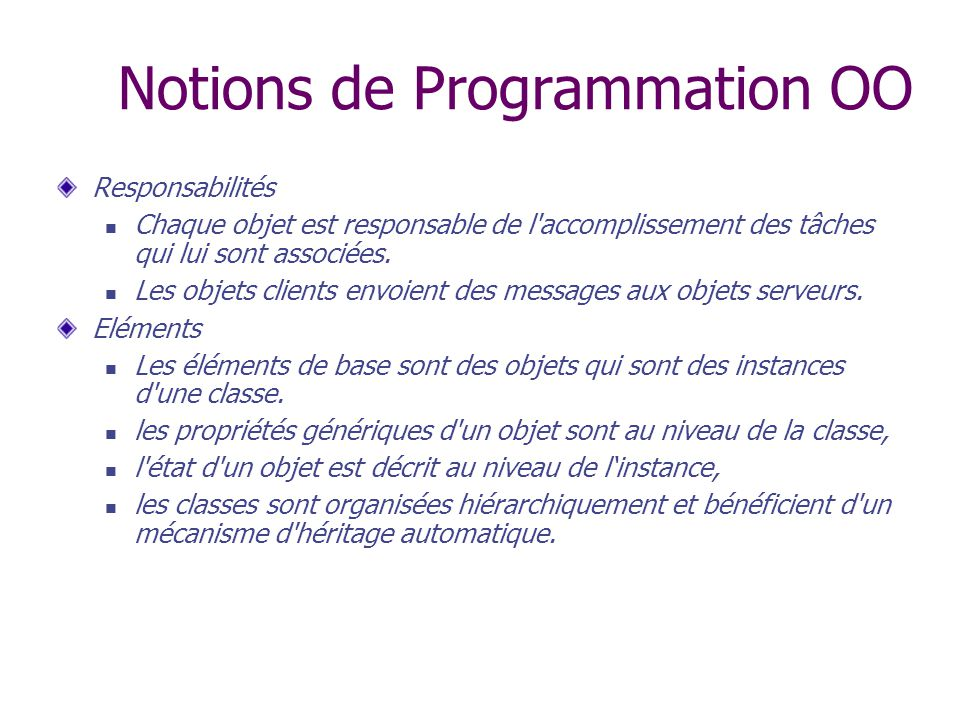 Notions de Programmation OO
