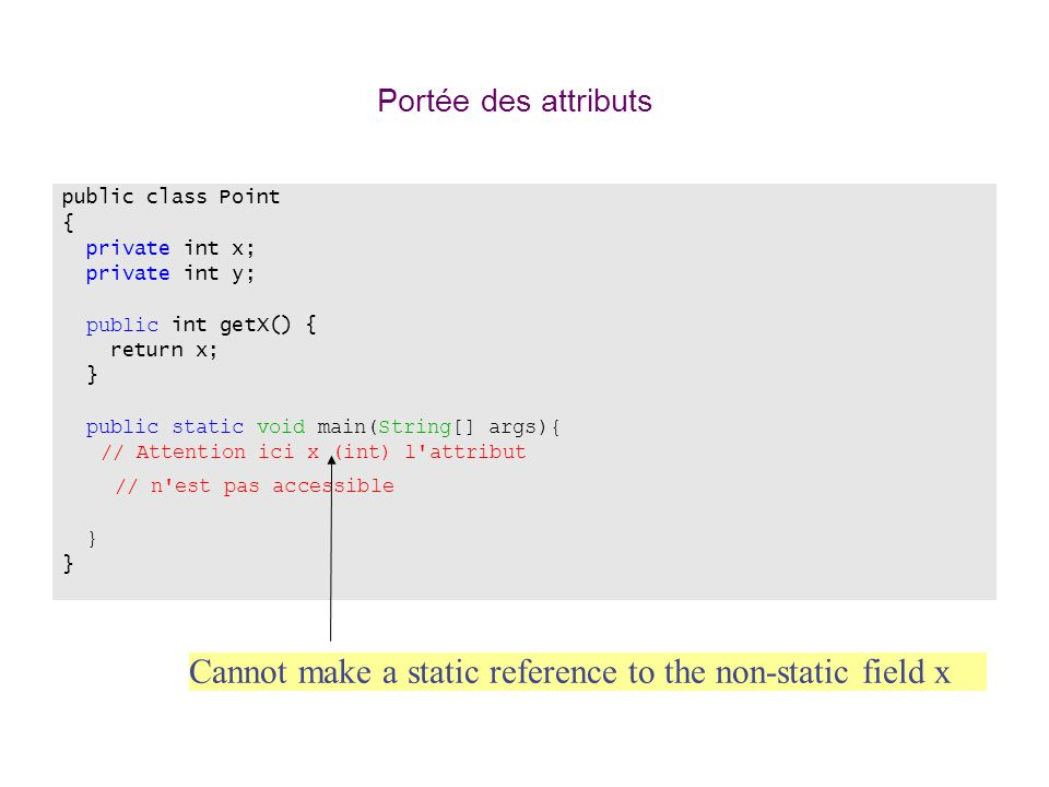 Portée des attributs public class Point. { private int x; private int y; public int getX() { return x;
